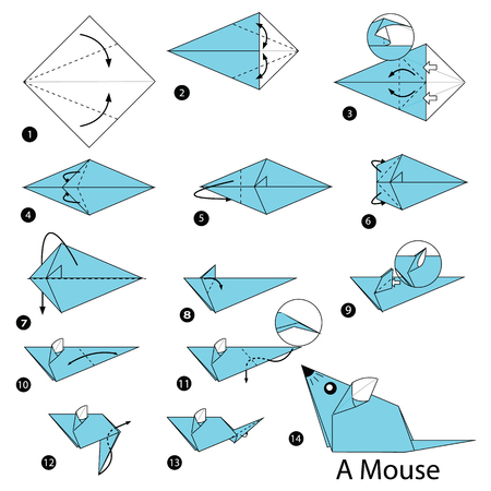Step by step instructions how to make origami A Mouse