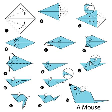 Stap voor stap instructies hoe u origami een muis maakt Stock Illustratie