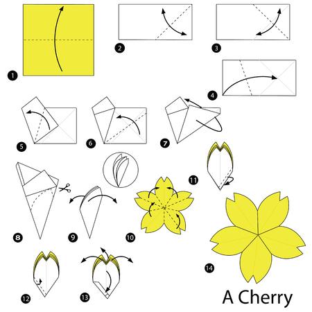 Stap voor stap instructies hoe origami A Cherry te maken
