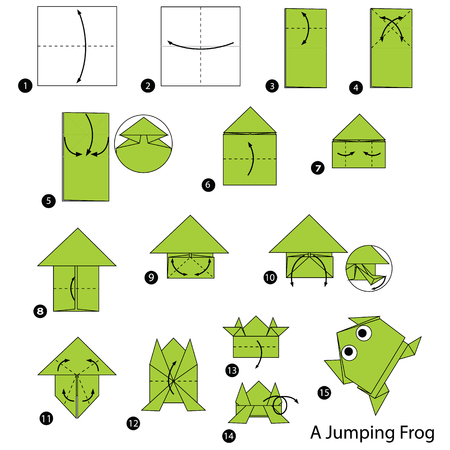 Step by step instructions how to make origami A Jumping Frog 版權商用圖片 - 83486009