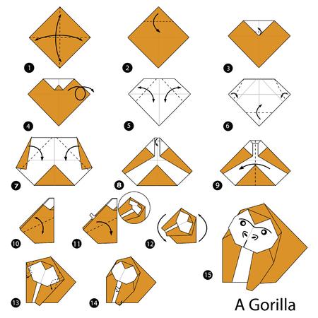 Stap voor stap instructies hoe origami een Gorilla maakt Stock Illustratie