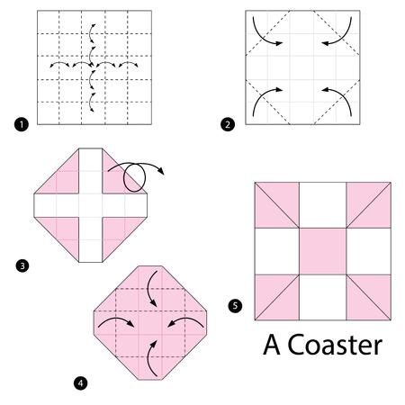 Stapsgewijze instructies over het maken van origami van een coaster. Stock Illustratie