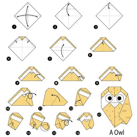 Stap voor stap instructies over hoe u origami van een uil maakt.