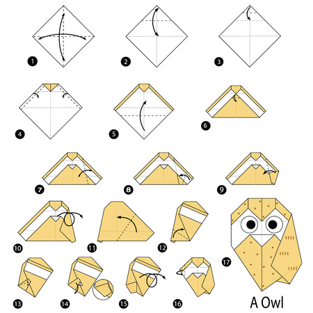 Step by step instructions on how to make origami of an owl. Illustration