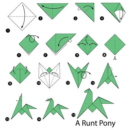 Stap voor stap instructies over hoe om origami van een rond pony te maken.
