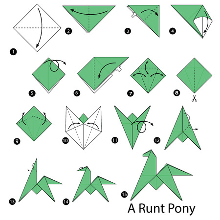 Step by step instructions on how to make origami of an runt pony.