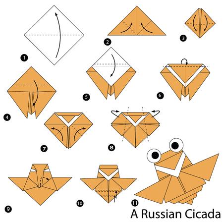 Stapsgewijze instructies over hoe u origami een Russische cicade maakt. Stock Illustratie