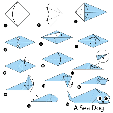 Step by step instructions on how to make origami a sea dog
