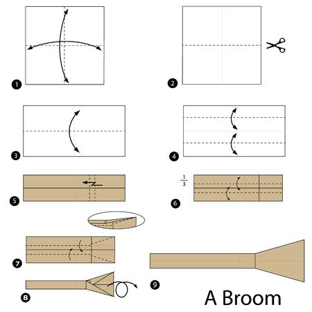Stap voor stap instructies om origami van een bezem te maken Stock Illustratie