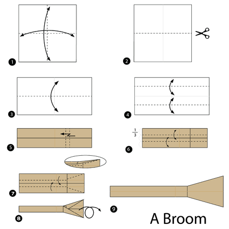 Step by step instructions on how to make origami of a broom