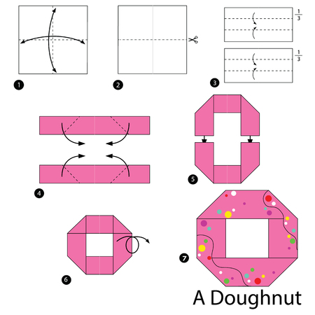 Step by step instructions on how to make origami of a donut.