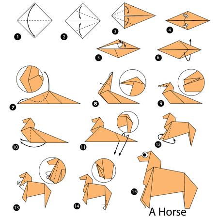 Stap voor stap instructies om origami van een paard te maken Stock Illustratie