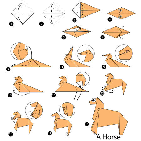 Step by step instructions on how to make origami of a horse