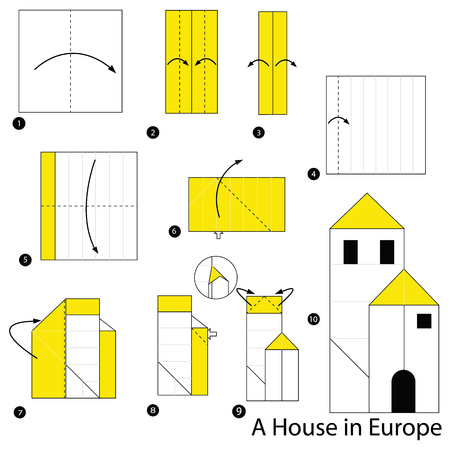 Step by step instructions on how to make origami of a house
