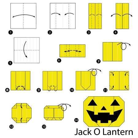 Step by step instructions on how to make origami of a lantern Illustration