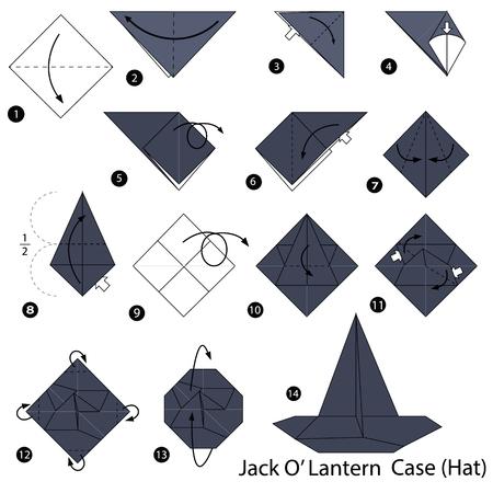 Stap voor stap instructies voor het maken van origami van een hoed met lantaarndoos