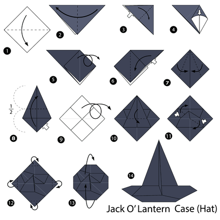 Step by step instructions on how to make origami of a lantern case hat