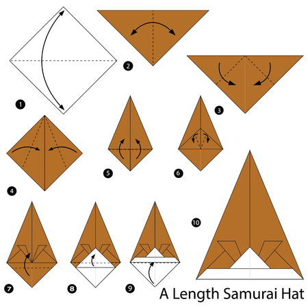 step by step instructions how to make origami A Length Samurai Hat Illustration