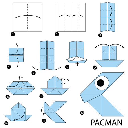 step by step instructions how to make origami A Pacman