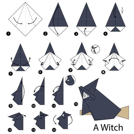 stap voor stap instructies hoe je origami A Witch kunt maken Stock Illustratie