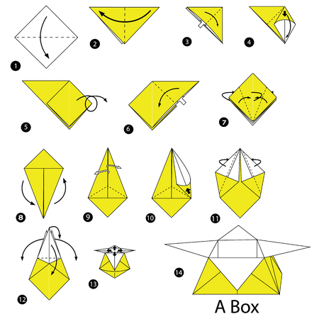 Step by step instructions how to make origami A Box in colored illustration.