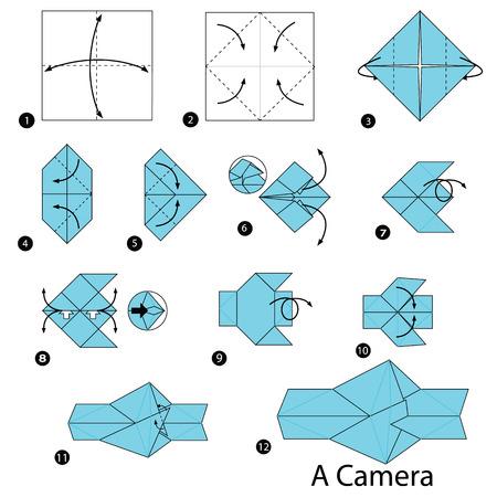 stap voor stap instructies om een ??origami A-camera te maken