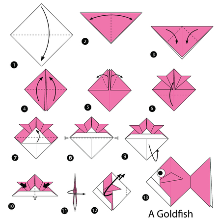 step by step instructions how to make origami A Goldfish