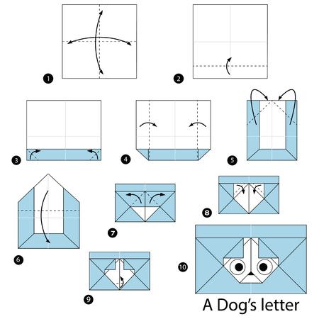 stap voor stap instructies hoe origami A Dog Letter te maken Stock Illustratie