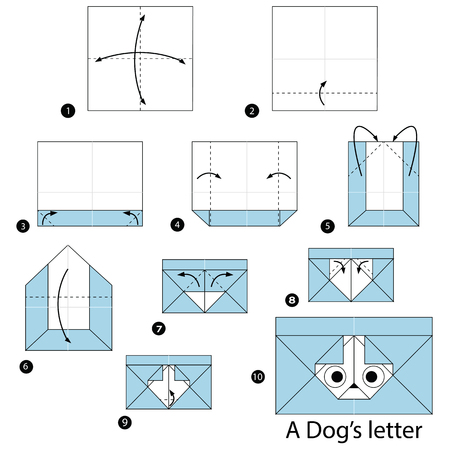 step by step instructions how to make origami A Dog Letter Illustration