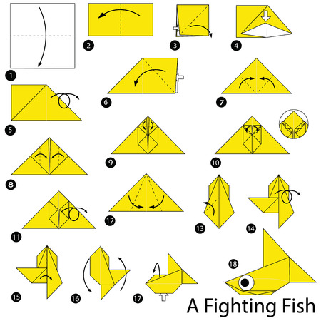 Stap voor stap instructies hoe vis origami te maken. Stock Illustratie