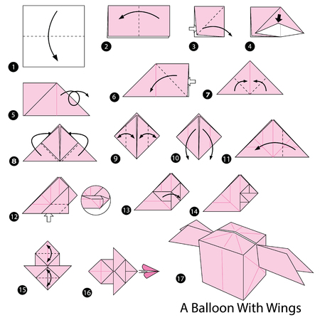 Step by step instructions on how to make origami of a balloon with wings