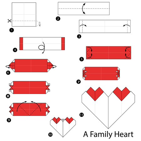 step by step instructions how to make origami A Family Heart Illustration