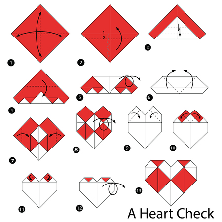 Step by step instructions on how to make origami of a heart check. Illustration
