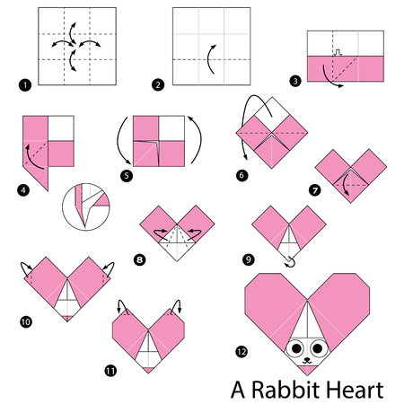 Step by step instructions on how to make origami of a rabbit heart