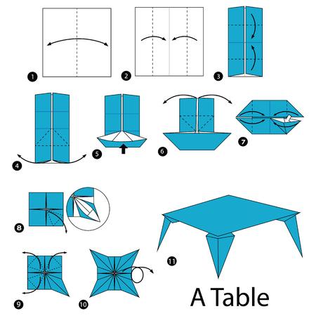 Stapsgewijze instructies voor het maken van origami van een tafel.