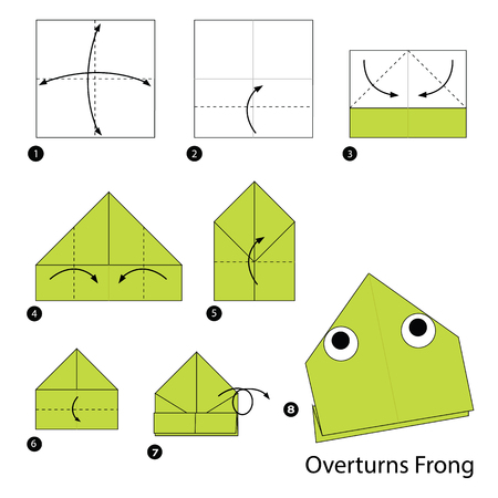 step by step instructions how to make origami A Overturns Frog