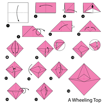 step by step instructions how to make origami A Wheeling Top