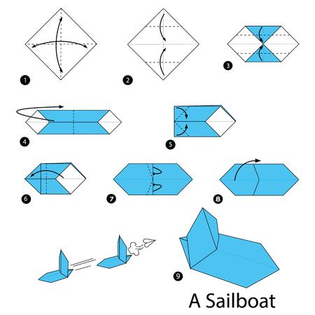 Stapsgewijze instructies voor het maken van origami-zeilboten.