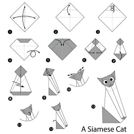 Stapsgewijze instructies voor het maken van origami, Siamese Cat. Stock Illustratie
