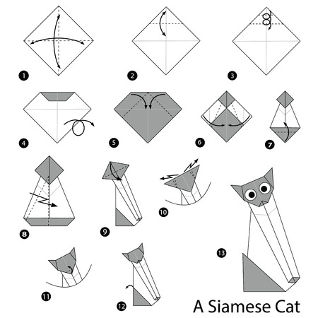 Step by step instructions on how to make origami, Siamese Cat. Illustration