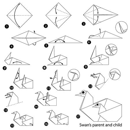 Stapsgewijze instructies voor het maken van origami, Swan Parent And Child. Stock Illustratie