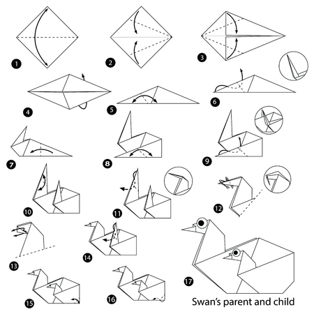 Step by step instructions on how to make origami, Swan Parent And Child.