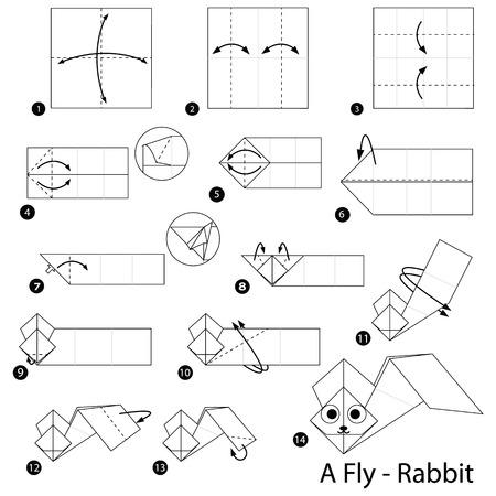 stap voor stap instructies hoe je origami A Fly Rabbit maakt Stock Illustratie