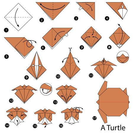 stap voor stap instructies hoe je origami A Turtle maakt Stock Illustratie