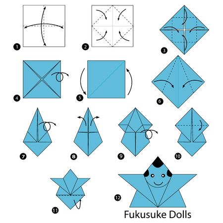 Stap voor stap instructies voor het maken van origami, een Japanse poppen.