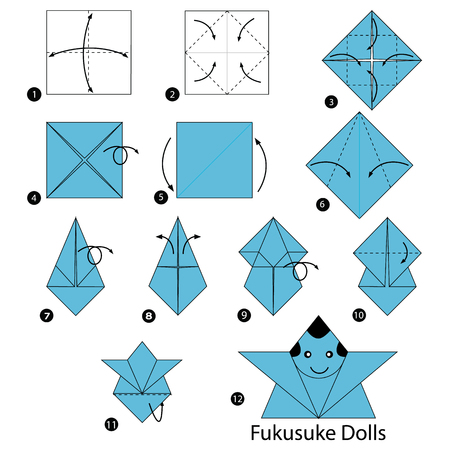 Step by step instructions how to make origami, a Japanese dolls.