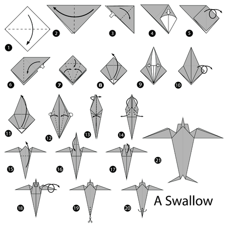 Step by step instructions how to make origami, a swallow illustration.