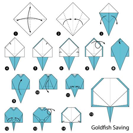 Stapsgewijze instructies om origami A Goldfish Saving te maken