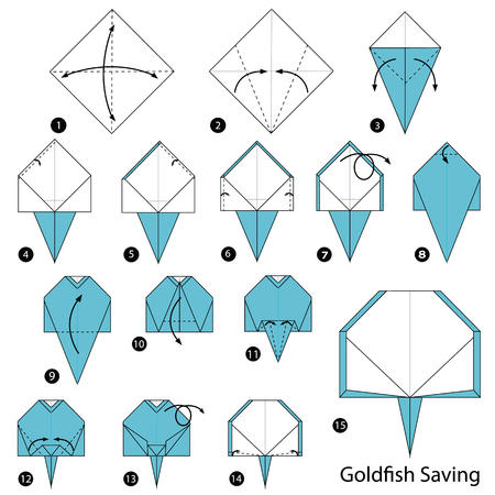 Step by step instructions how to make origami A Goldfish Saving Illustration