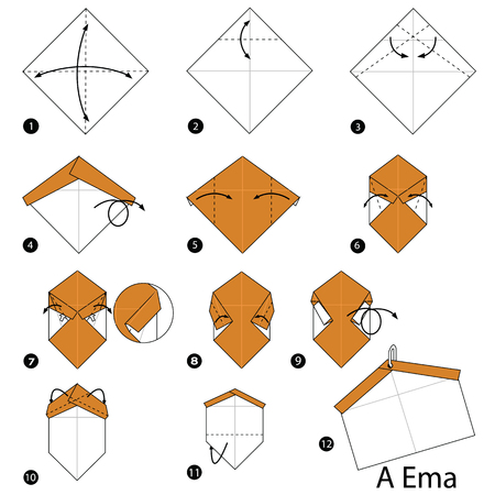 step by step instructions how to make origami A Blessings labels Vector illustration.